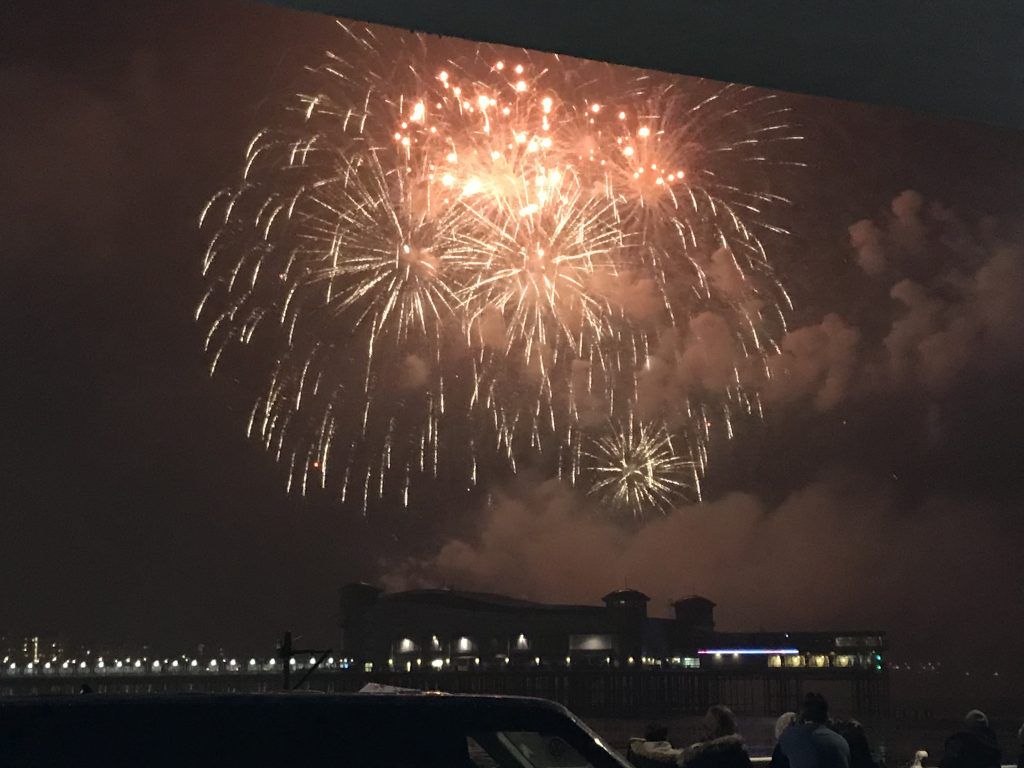 The Fireworks at Sea on Weston super Mare Beach