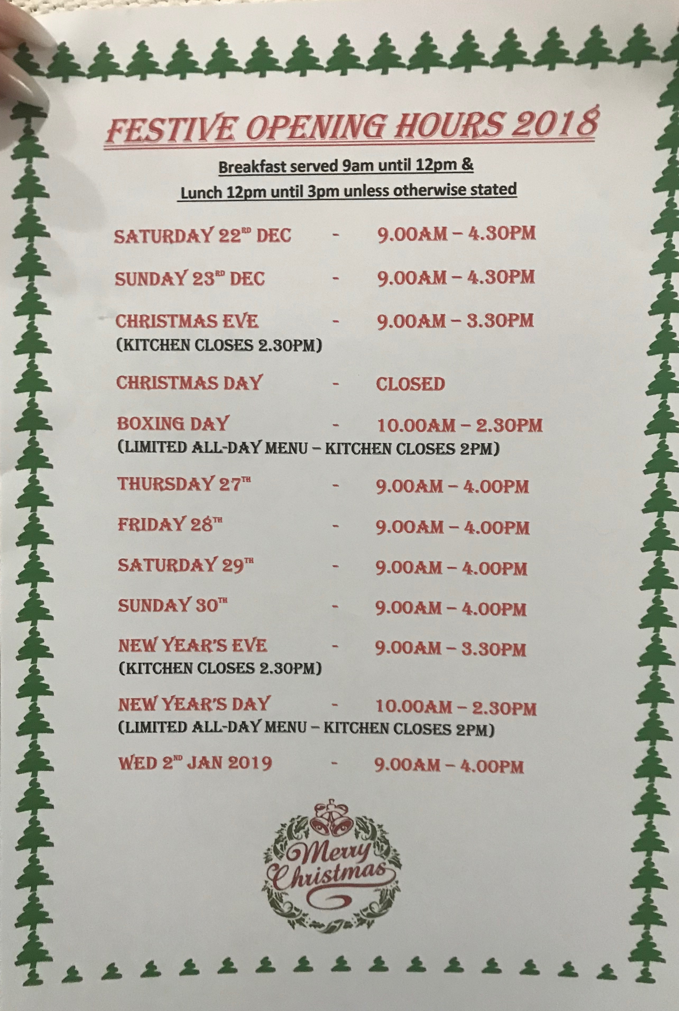 Christmas Opening Hours at Stones Cafe Weston