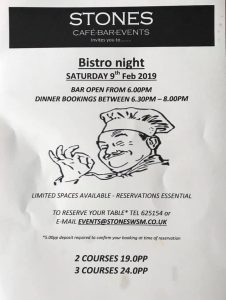 Bistro Night February 2019 Weston Cafe Stones