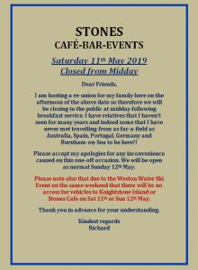 Stones Cafe Weston closed 11th May