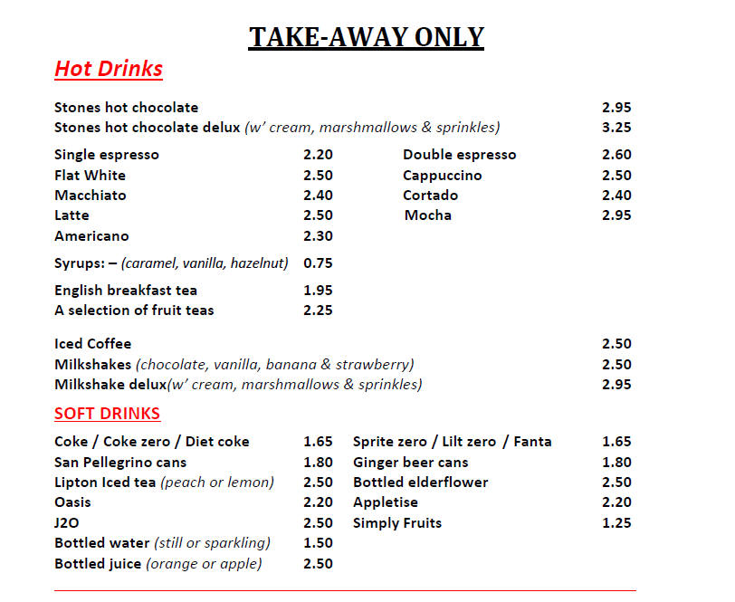 Takeaway Menu Weston super Mare Somerset