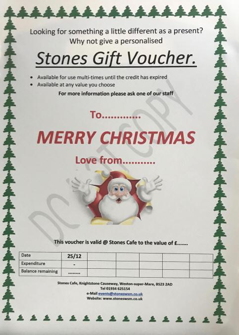 Xmas Vouchers Stones Cafe Weston-super-Mare