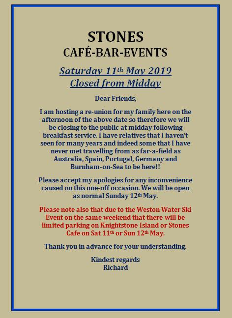 Closed Saturday 11th May 2019