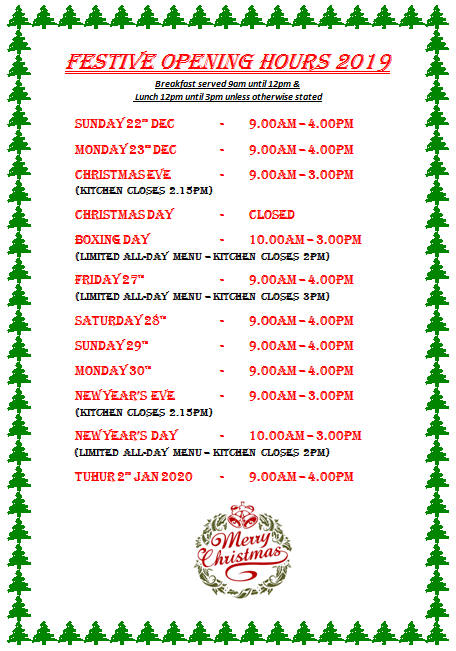 Festive Opening Hours 2019