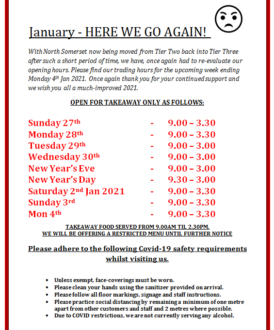 Altered Opening Hours Xmas Jan 2021